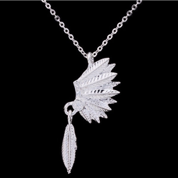 Native American Indian Headdress Feather Necklace Jewelry - I Am A Dreamer