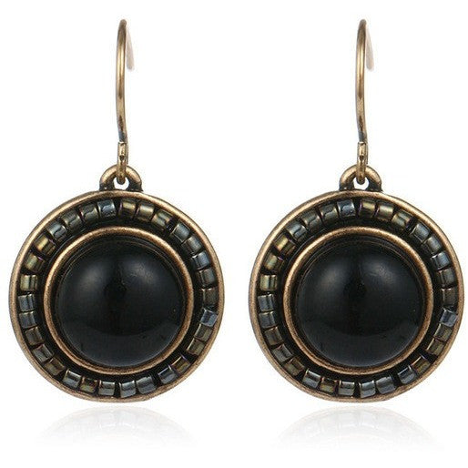 Tribal Vintage Fashion Blue Black Turquoise Round Drop Earrings - I Am A Dreamer