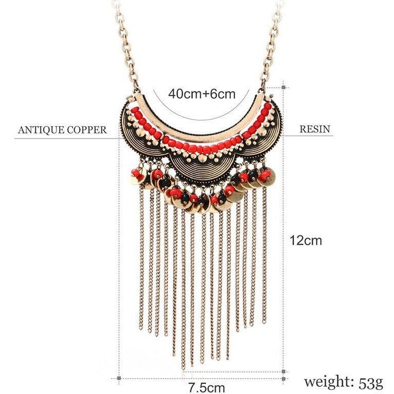 Tribal Tassel Vintage Red Black Resin Beads Round Pendant Chocker Necklace - I Am A Dreamer