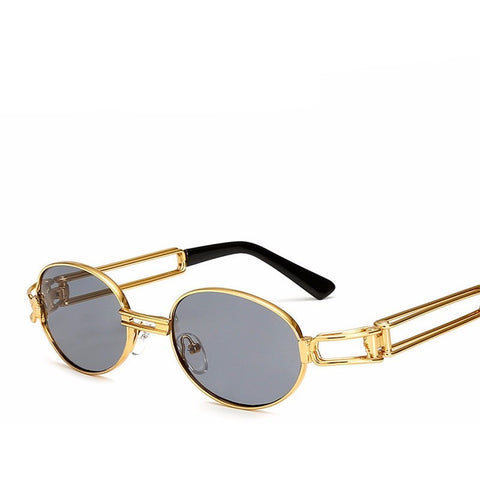 Retro Small Round Vintage Steampunk Gold Frame Sunglasses - I Am A Dreamer