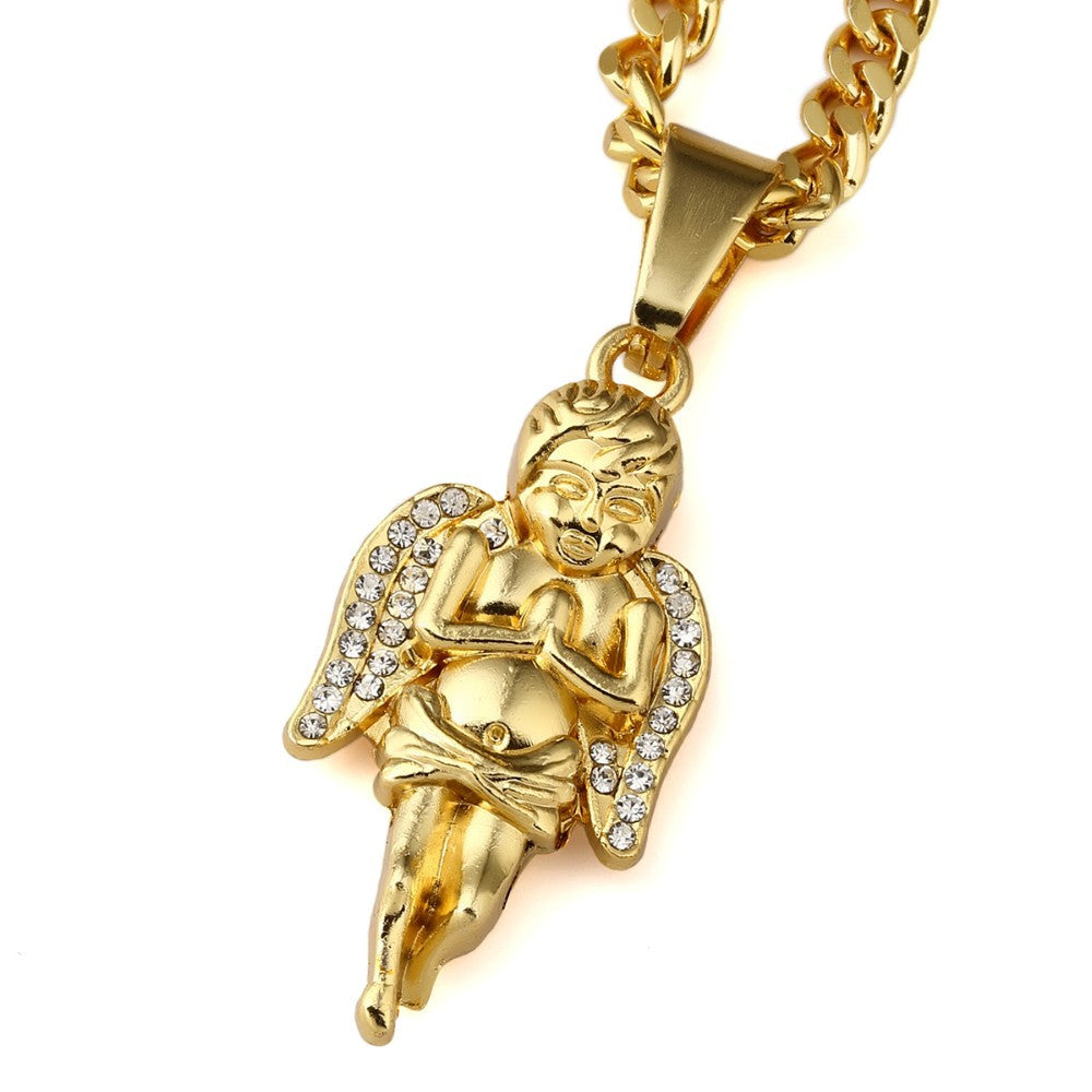 Gold Plated Hands Praying Angel Pendant Necklaces Jewelry Gift - I Am A Dreamer