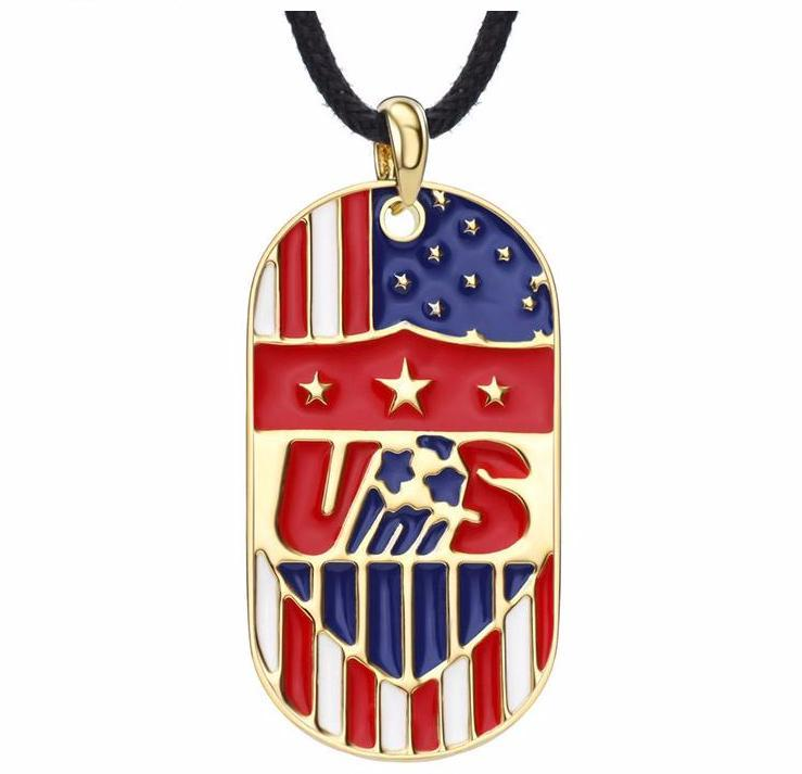 Alloy Gold USA America Flag Sporty Necklaces Pendants - I Am A Dreamer