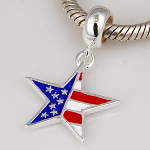 Enamel USA Flag Charms 925 Sterling Silver Jewelry Beads fit for bracelets & Necklaces