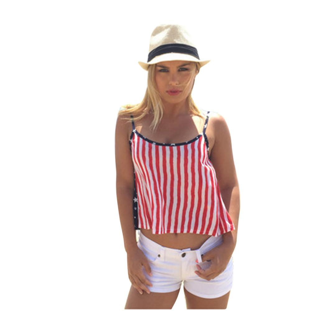 Fashion Red Blouse Women Sexy Stripe America Flag Printing Tops Vest