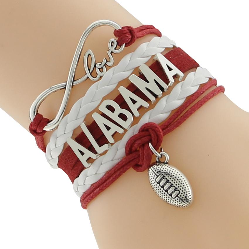 Alabama State Football Sports Team  Infinity Love Red White Friendship Bracelet - I Am A Dreamer