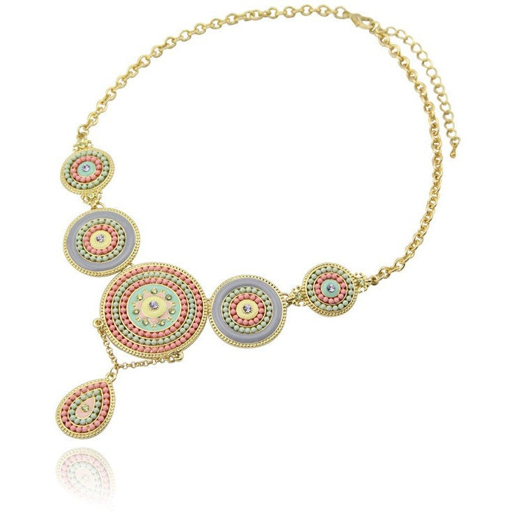 Tribal Gold Round Resin Bohemia Beads Pendant Link Chain Necklace - I Am A Dreamer