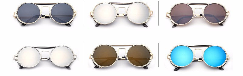 Vintage Fashion Gold Metal Round Steampunk Unisex Sunglasses - I Am A Dreamer