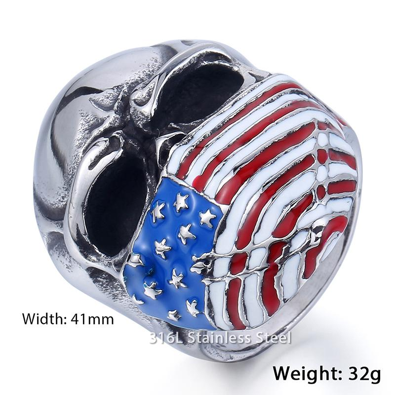 Stainless Steel USA American Flag Skull Band Ring Red Rhinestones