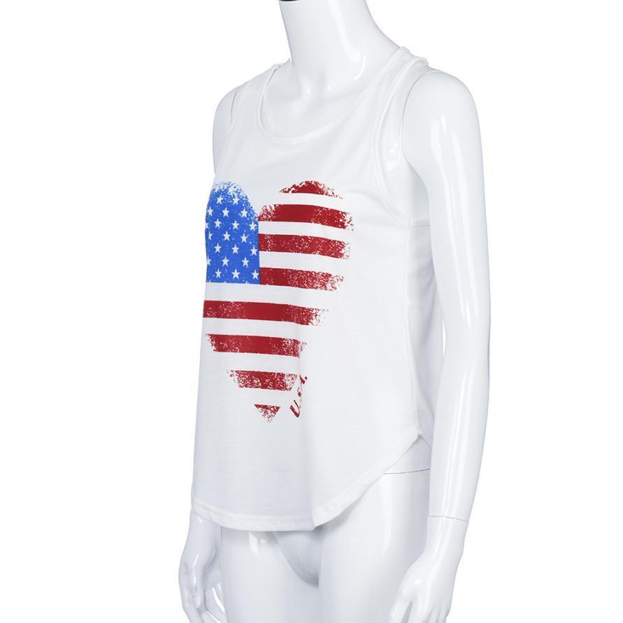 Fashion America Flag Women Sexy Sleeveless O-Neck Tank Tops Vest