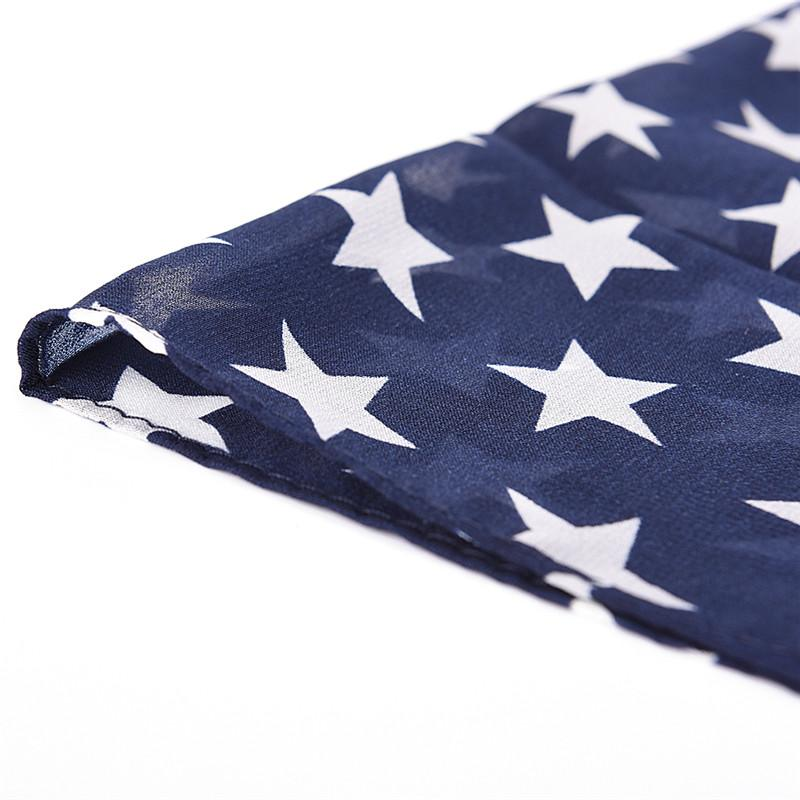 Neckerchief Fashion Soft Silk American Flag Scarf