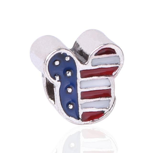 Alloy Silver Color Bead USA Flag Micky Head Charm Fit Bracelets & Bangles Necklace - I Am A Dreamer