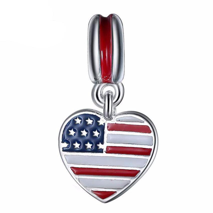 American Flag Silver Color Alloy Charm Pendant 925 Bracelet Bangle - I Am A Dreamer