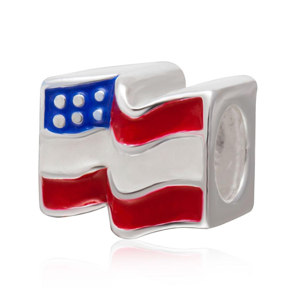 925 Sterling Silver Enamel USA flag charms DIY beads Fit bracelets Jewelry - I Am A Dreamer