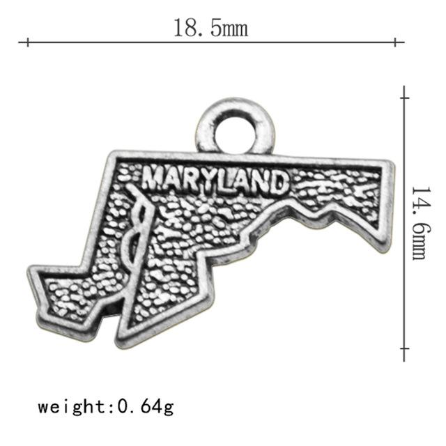 2 Style Antique Silver Maryland State Map Dangle Charms DIY  For Bracelet Jewelry - I Am A Dreamer