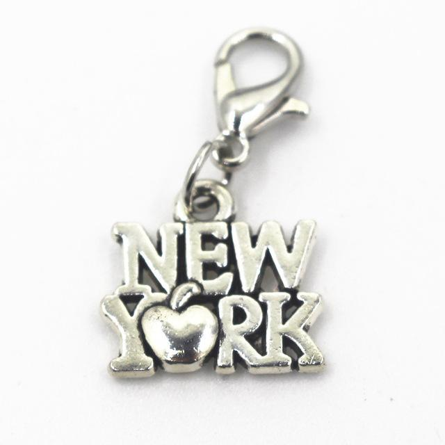 Silver New York Dangle Bead Charms Pendants Fit Necklace Bracelet jewelry