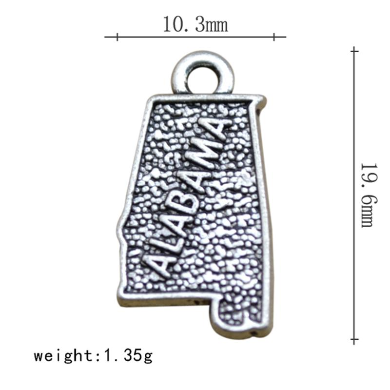 Silver Alabama Map Dangle Charms Jewelry Fit Bracelet Necklace 50PCS/Lots