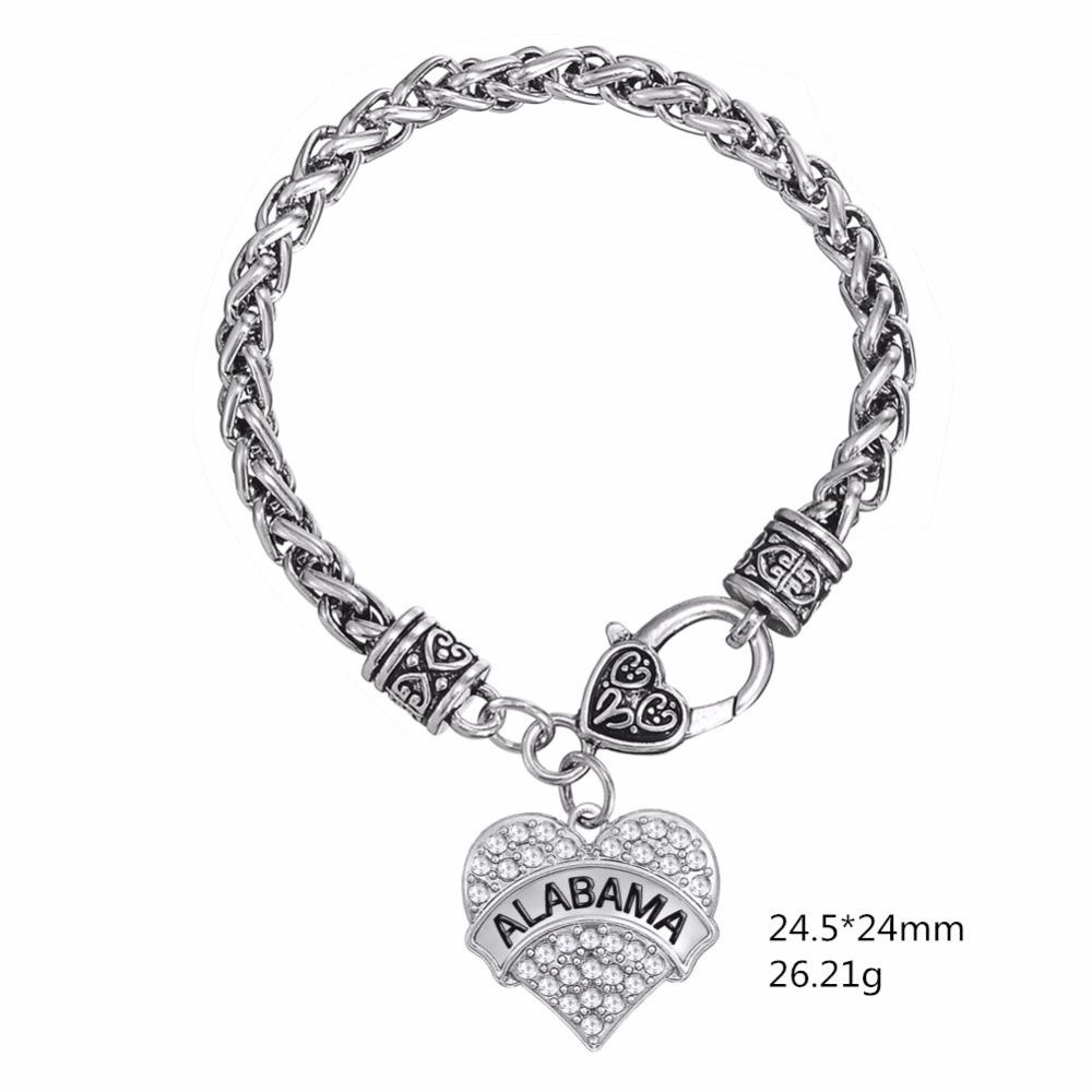 Skyrim Fashion Zinc Alloy Crystal State of Alabama Heart Bracelet