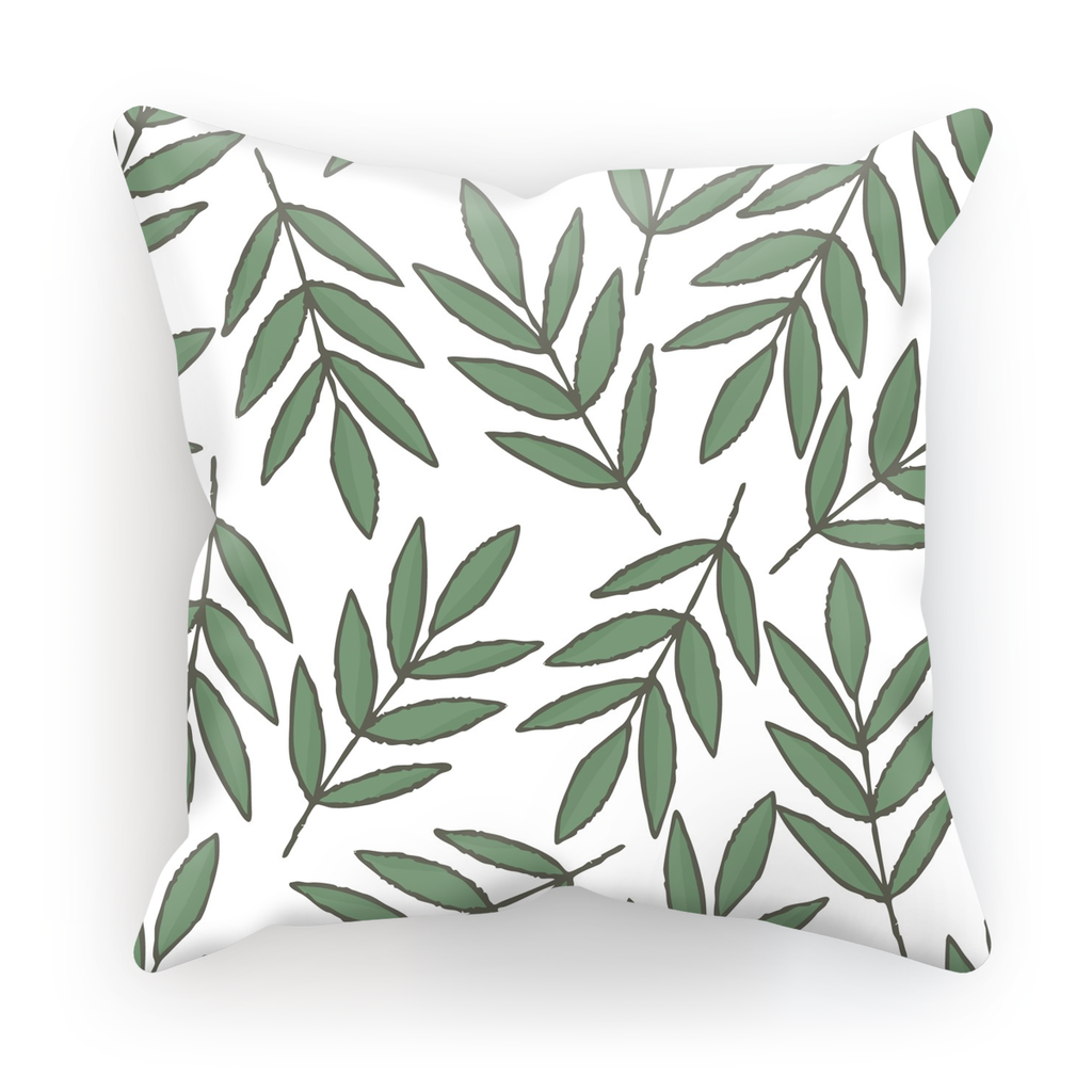 Green Leaves Theme White Base Throw Pillow - I Am A Dreamer