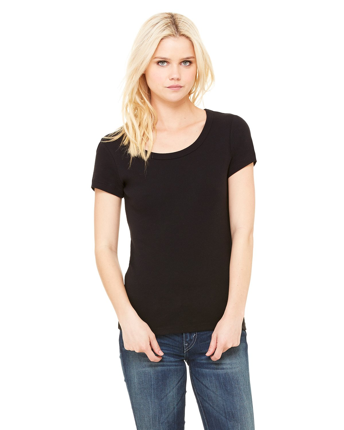 Bella + Canvas - B1003 - Ladies' Baby Rib Short-Sleeve Scoop Neck T-Shirt