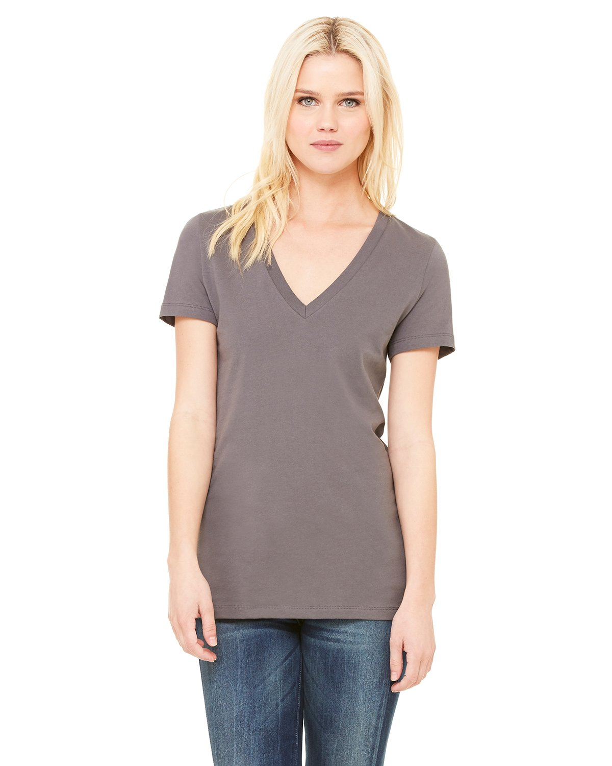 Bella + Canvas - B6035 - Ladies' Jersey Short-Sleeve Deep V-Neck T-Shirt