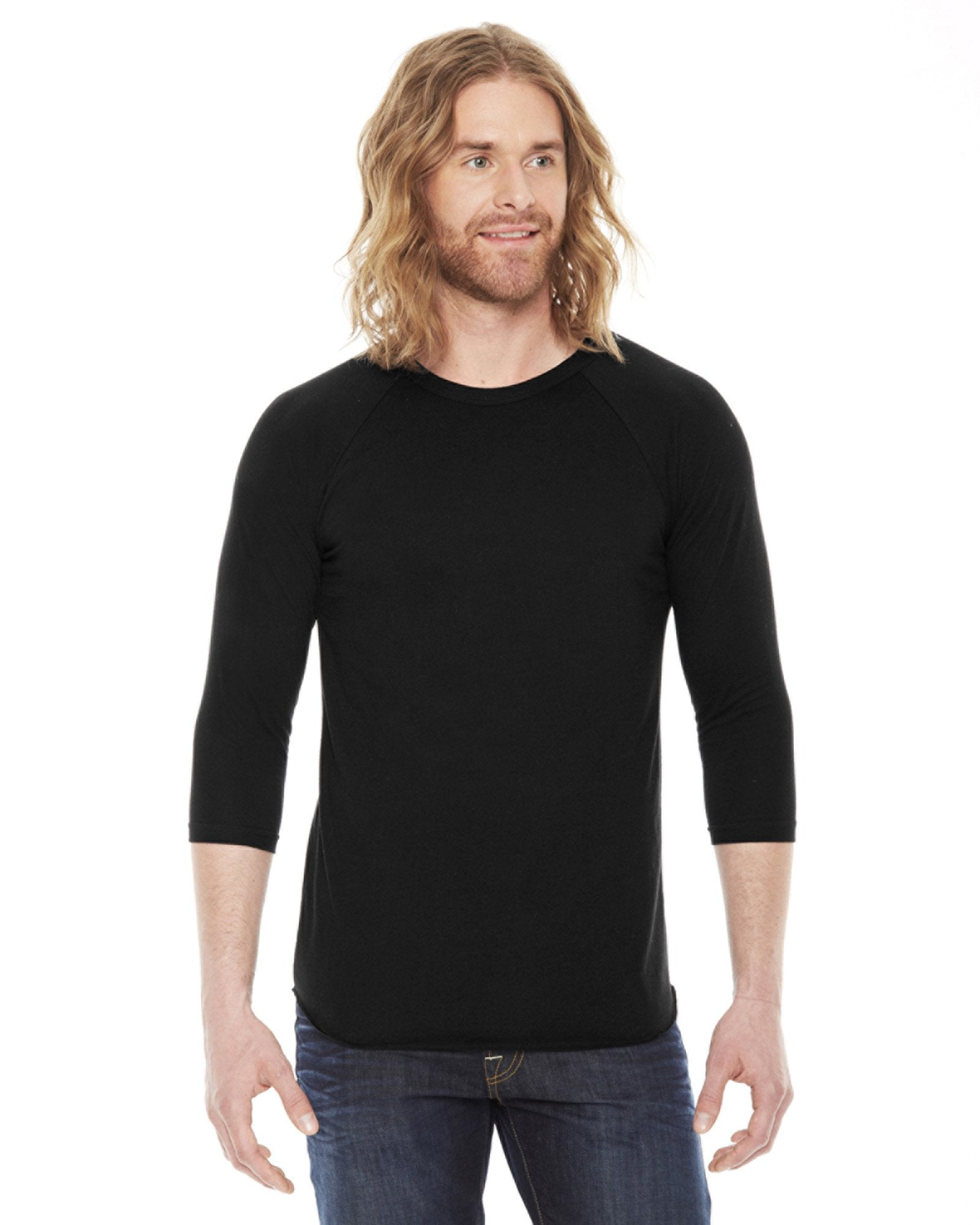 American Apparel - BB453 - Unisex Poly-Cotton 3/4-Sleeve Raglan T-Shirt