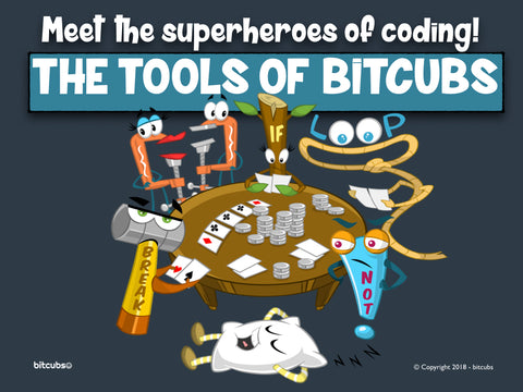 Meet the Tools of bitcubs, see our kids YouTube coding cartoon