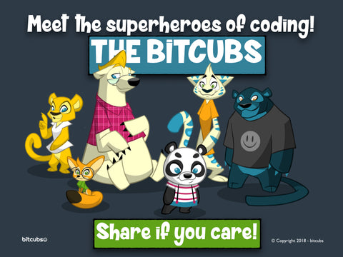 Meet the superheroes of coding, the bitcubs! See our kids Facebook coding cartoon