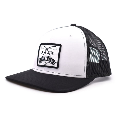 Image of Fish On Patch White & Black Hat - Bucks of America