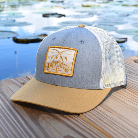 Image of Fish On Patch Heather Grey / Birch / Amber Hat - Bucks of America