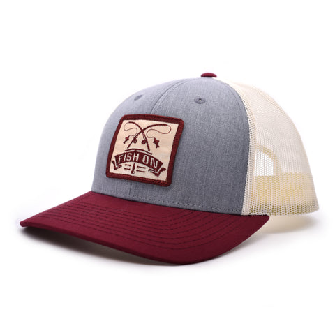 Image of Fish On Patch Heather Grey / Birch / Cardinal Hat
