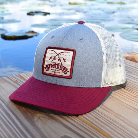 Image of Fish On Patch Heather Grey / Birch / Cardinal Hat - Bucks of America