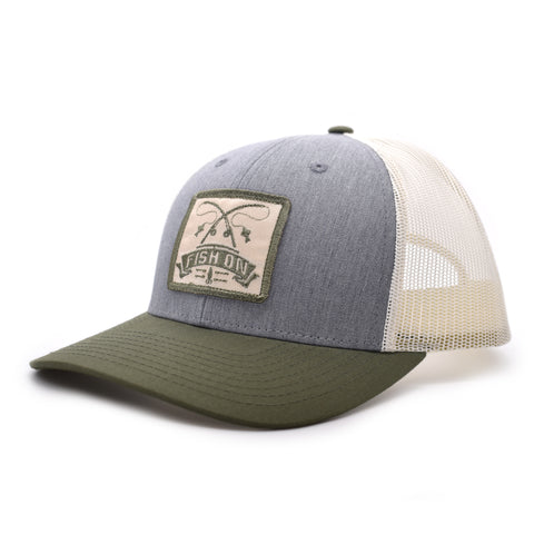 Image of Fish On Patch Heather Grey / Birch / Army Hat - Bucks of America