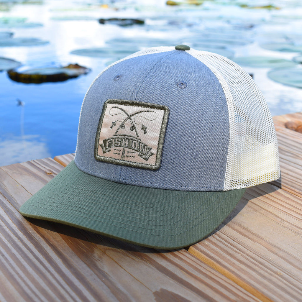 Fish On Patch Heather Grey / Birch / Army Hat