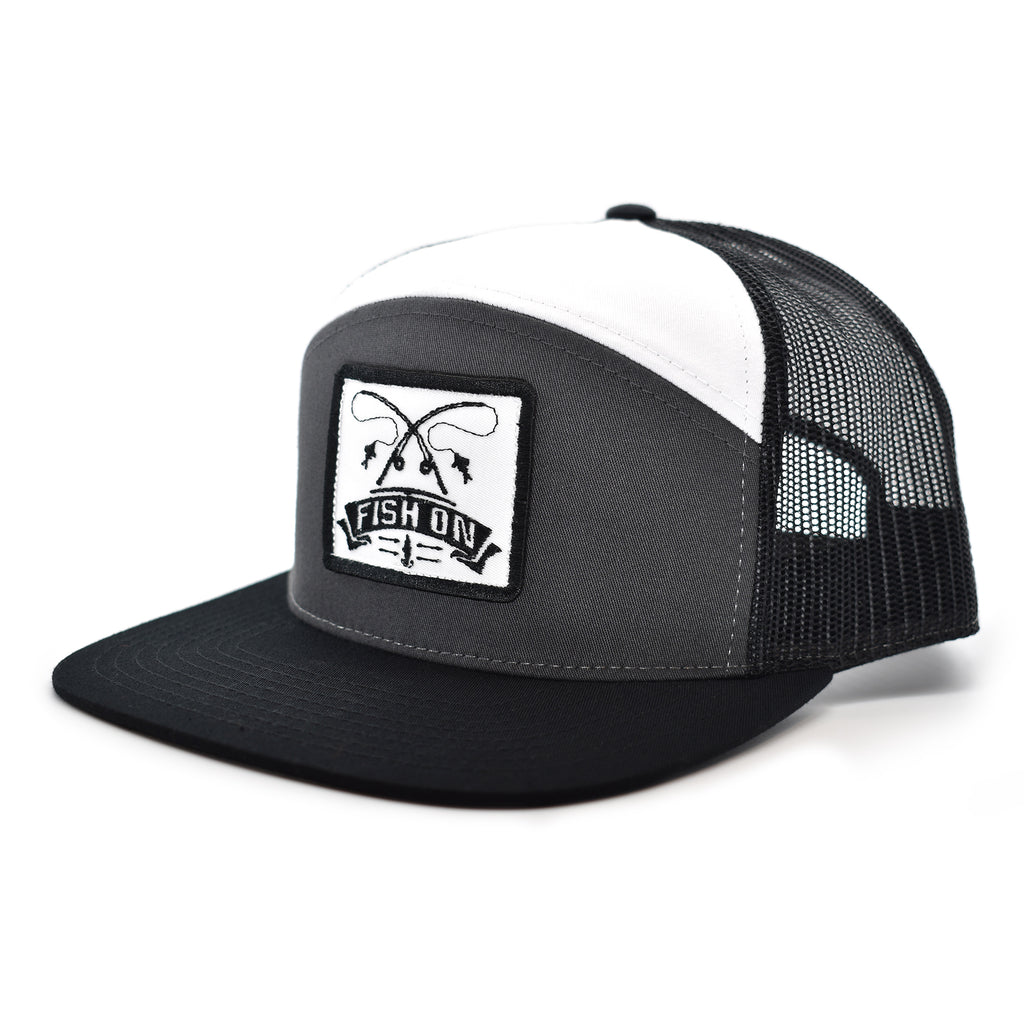 Fish On Patch Charcoal / Black / White Hat - Bucks of America