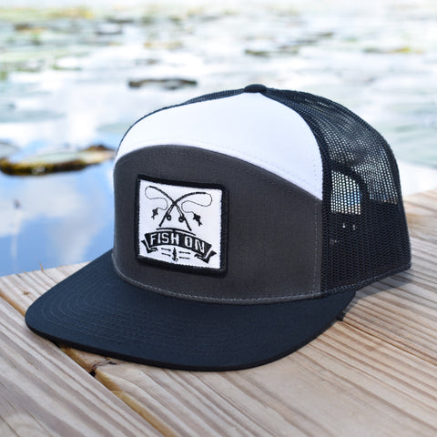 Image of Fish On Patch Charcoal / Black / White Hat - Bucks of America