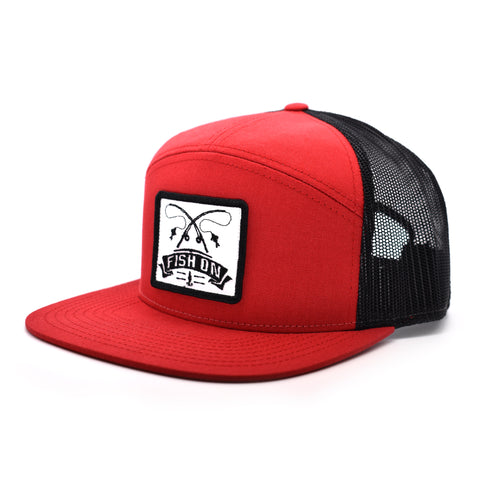 Image of Fish On Patch Red & Black Hat - Bucks of America