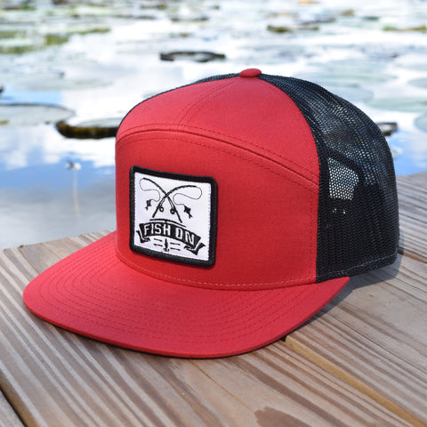 Image of Fish On Patch Red & Black Hat