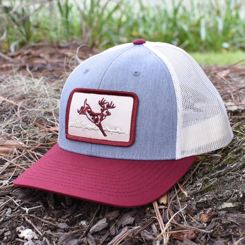 Deer Hunt Patch Heather Grey / Birch / Cardinal Hat - Bucks of America