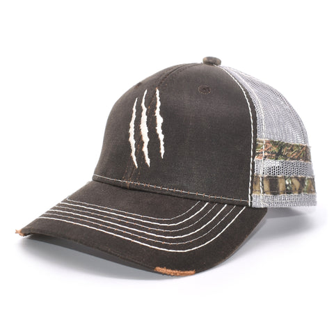Brown Camo Claw Scratch Sport Frayed Hat - Bucks of America