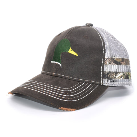 Brown Camo Duck Sport Frayed Hat