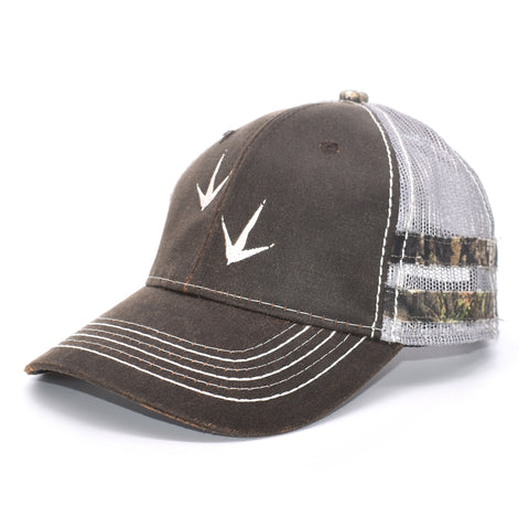 Image of Brown Camo Sport Frayed Hat - Bucks of America