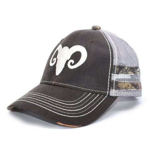 Brown Camo Ram Sport Frayed Hat - Bucks of America