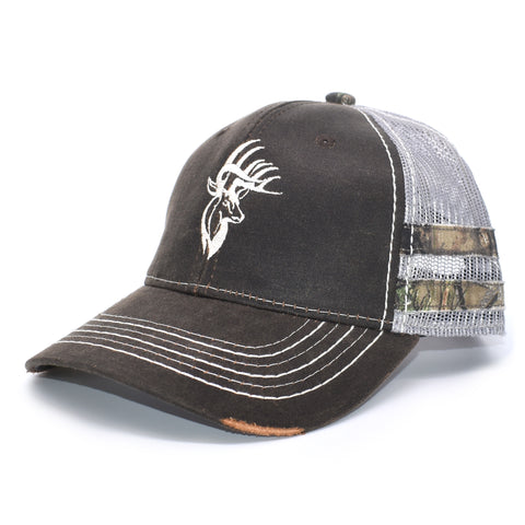 Brown Camo Bucks Of America Sport Frayed Hat