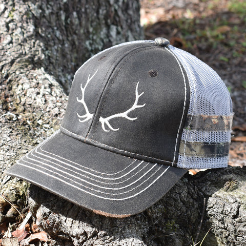 Image of Brown Camo Elk Sport Frayed Hat - Bucks of America