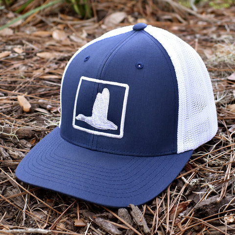 Image of Duck Embroidered Navy & White Hat