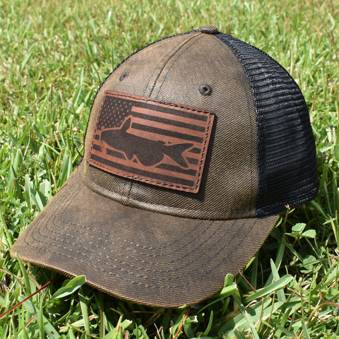 Image of Catfish Leather Patch Flag Hat - Brown / Black - Bucks of America