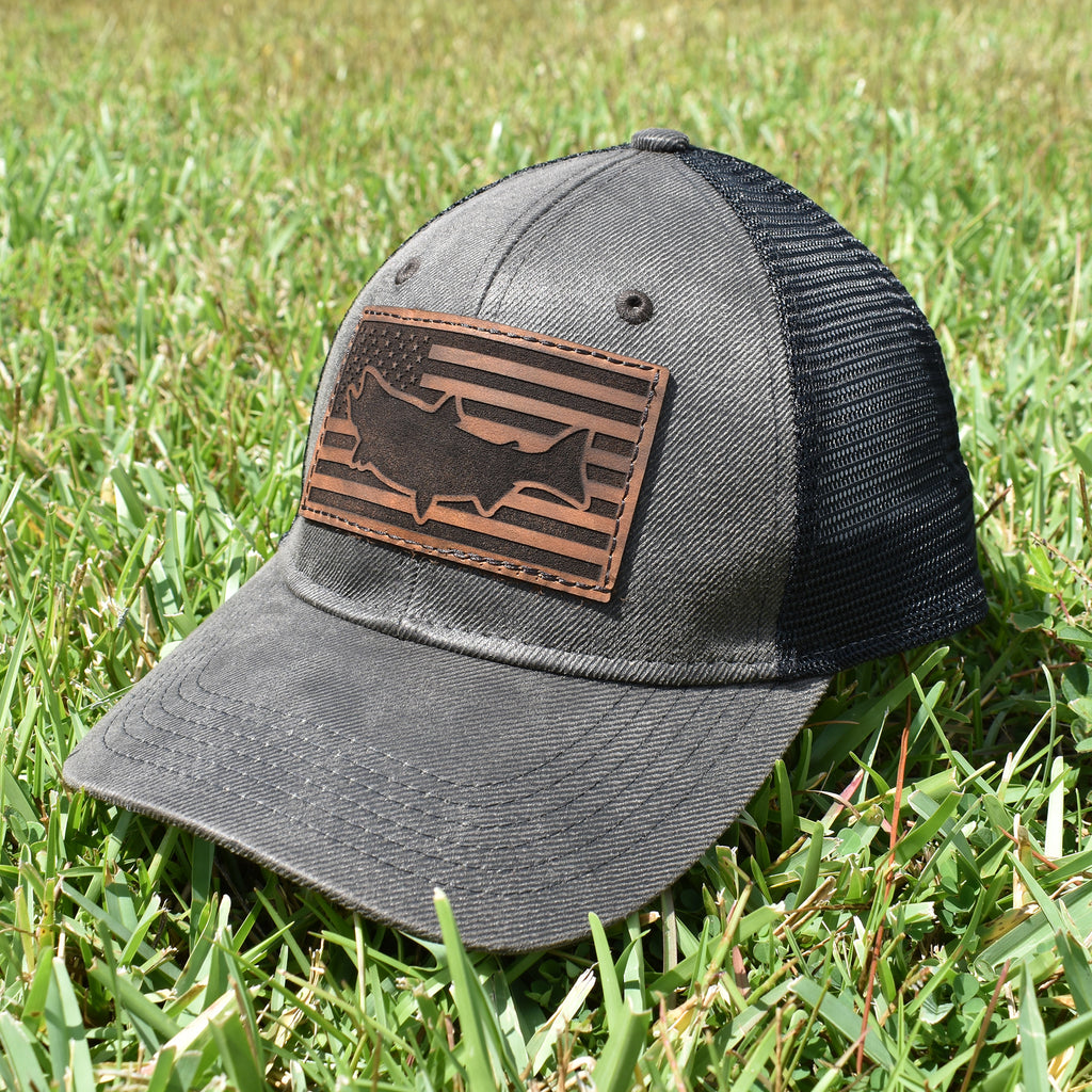 Salmon Leather Patch Flag Hat - Dark Brown / Black - Bucks of America