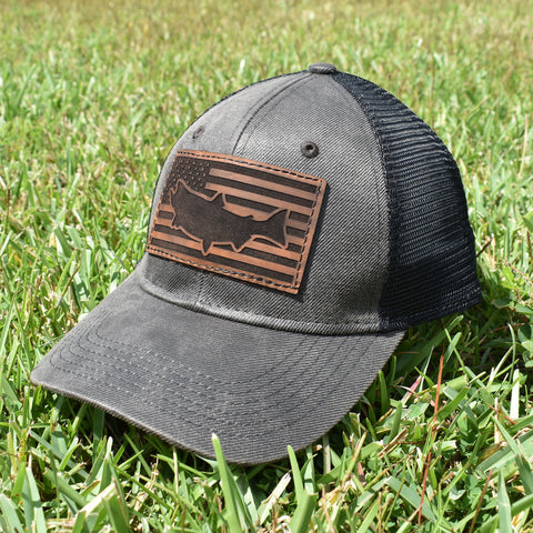 Image of Salmon Leather Patch Flag Hat - Dark Brown / Black - Bucks of America