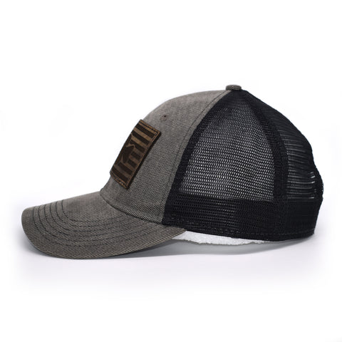 Image of Crappie Leather Patch Flag Hat - Grey / Black - Bucks of America