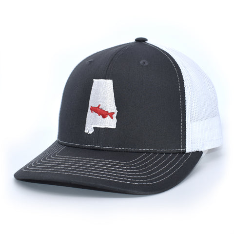Image of Alabama Catfish Hat- Charcoal/White - Bucks of America